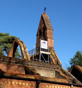 Scaffolding to protect the chancel arch