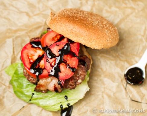 Bacon Wrapped Gorgonzola Fig Burgers with Balsamic Glaze