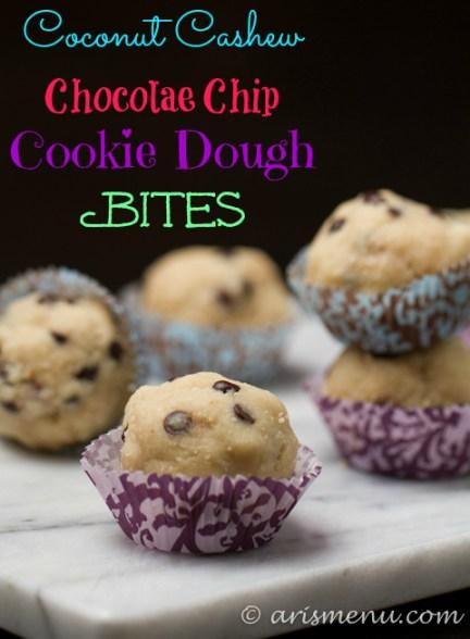 Coconut Cashew Chocolate Chip Cookie Dough Bites: Healthy, gluten-free & vegan dessert bites