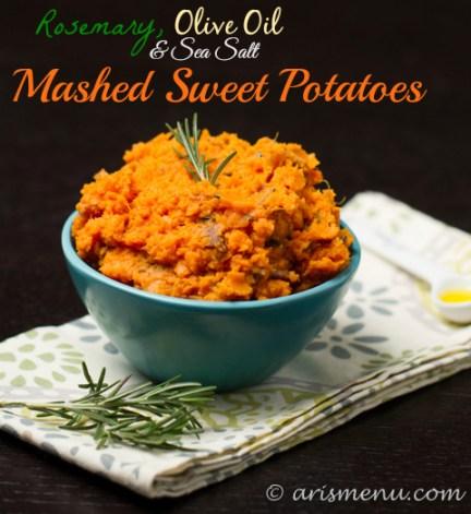 Rosemary, Olive Oil & Sea Salt Mashed Sweet Potatoes: Simple, healthy, vegan, gluten-free & paleo!