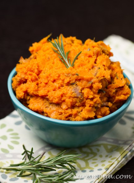 Rosemary, Olive Oil & Sea Salt Mashed Sweet Potatoes: Simple, healthy, vegan, gluten-free & paleo!