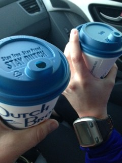 Dutch Bros is a post-track tradition. It was still cold out, so Nicole and I sat in the car to gossip and have our drinks. You know you're from Arizona when 60 degrees is too cold to sit outside.