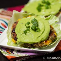 Sweet Potato Black Bean Burgers with Cilantro Avocado Cream {The Recipe ReDux}
