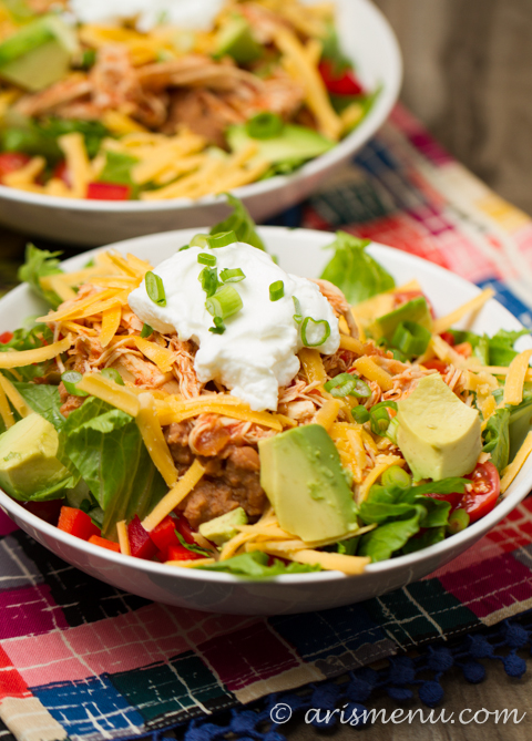 Shredded Chicken Taco Salad: Easy, simple, healthy & gluten-free!