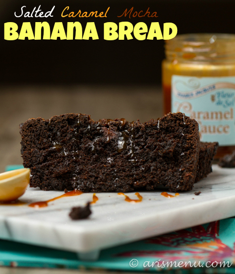 Salted Caramel Mocha Banana Bread: Your favorite cold weather beverage in a decadent banana bread! {gf}