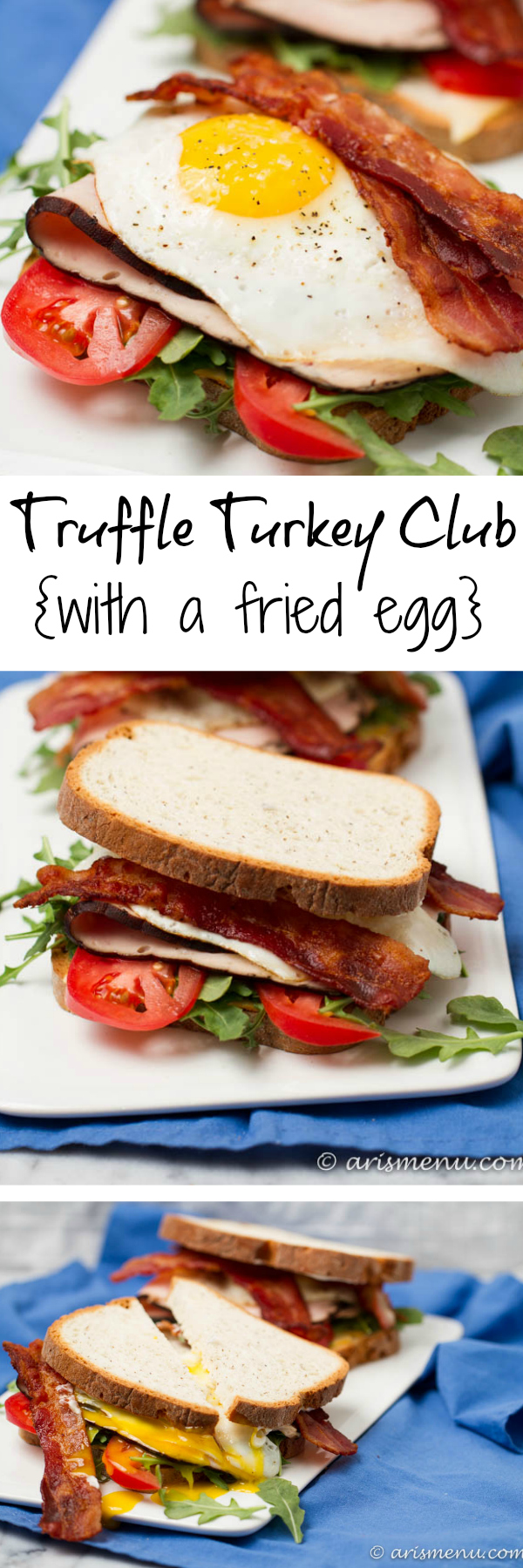 Truffle Turkey Club {with a fried egg}: An update on the classic sandwich with truffle mayo and a perfectly drippy fried egg