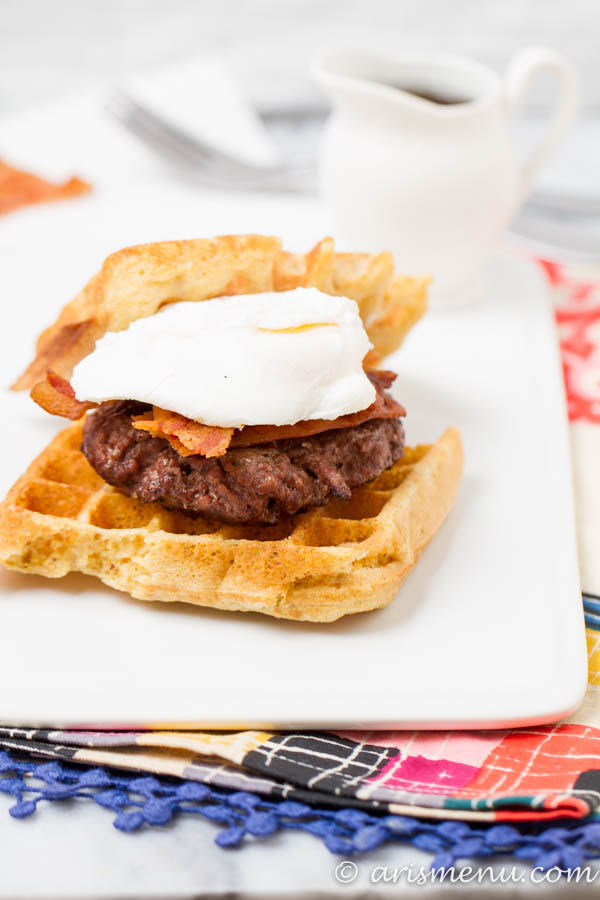 The Breakfast Burger: A waffle bun with crispy bacon, a poached egg and a drizzle of maple syrup. This burger has the perfect combination of flavors and textures and will turn even skeptics into believers!