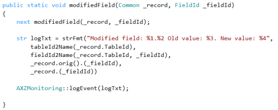 Extending modifiedField