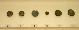 The six identified bronze coins of the wreck.