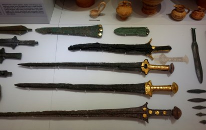 "Mycenean-style swords, from a ""warrior's grave"" in Knossos."