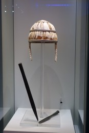 "Characteristic Mycenean helmet, made of boar tusks. Found in a ""warrior's grave"" in Knossos."