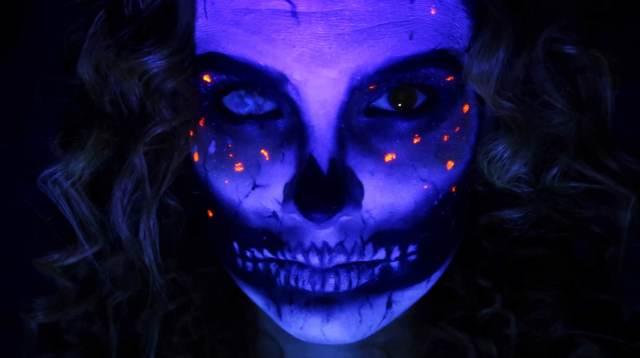 UV skull makeup for Halloween
