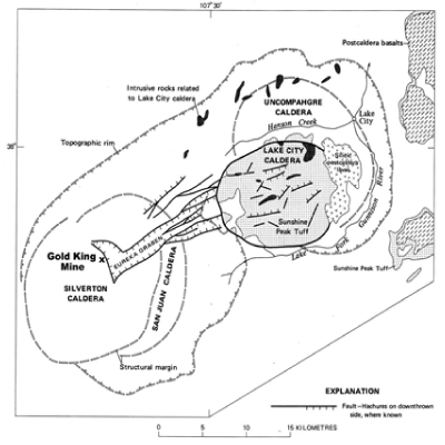 Figure 1: Generalized Geology of the Western San Juan Caldera Complex, showing the location of the Gold King mine (from Steven and Lipman, 1976)