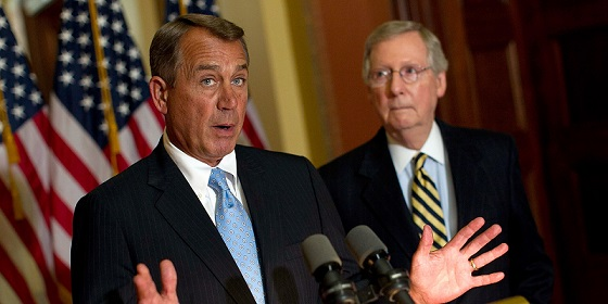 Boehner And McConnell Address The Media At The Capitol