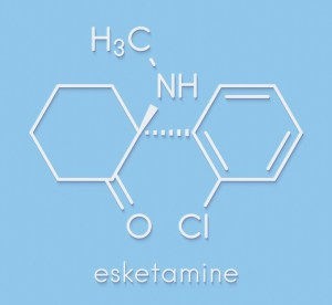 Esketamine antidepressant and anesthetic drug molecule.