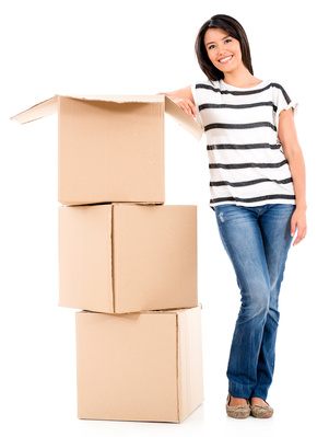 Woman Packing Boxes