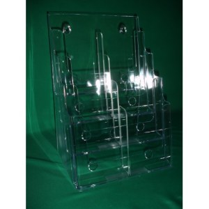 DS8.5 4DCI 4 Tier Acrylic Countertop and Wall Mount Brochure Holder for 8.5×11 Literature (Pack of 4/$14.20 Each)