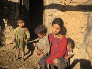 Children and mother in Nepal.
