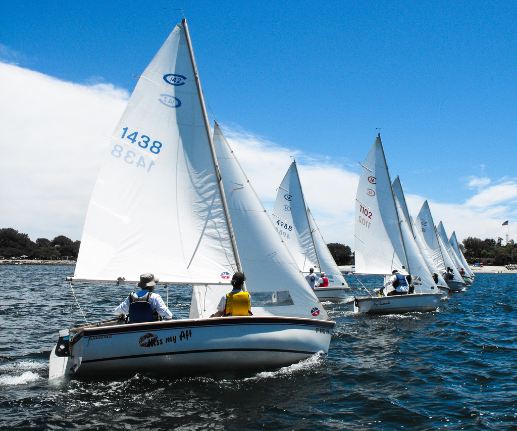 A start during the 2015 C14 Nationals at Mission Bay Yacht Club.