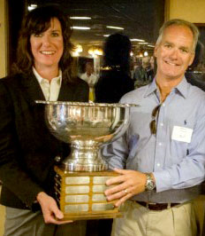 Stacey and Dave Haggart holding the trophy they won for becoming AYC Club Champions. Photo: Mike Ferring