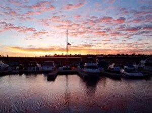 Sunrise at Pleasant Harbor Marina. Photo: Chris Smith