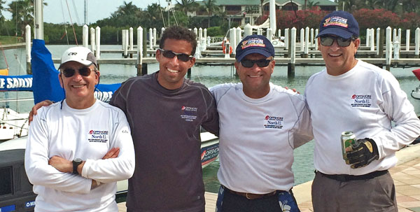 Returning crew. This bunch (plus one other) sailed together in 2012 and were back for 2014. From left: Mark Allison, Coach Rod Favela, Dave Bohl, and Mike Ferring.