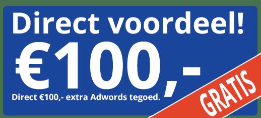 €100,- extra tegoed voor Google Adwords