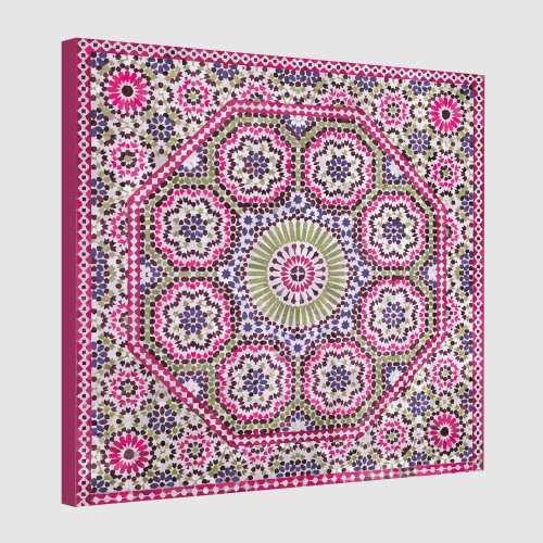 Tableau oriental mosaïque rosace-fuchsia
