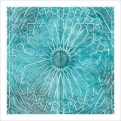 Poster oriental-ornement métal-turquoise
