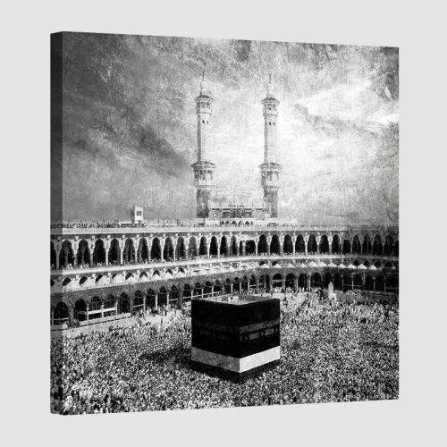 Tableau islam kaaba-noir et blanc
