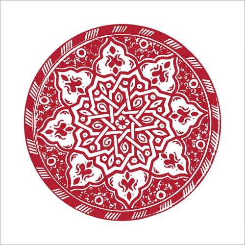 Poster oriental-assiette moderne-rouge