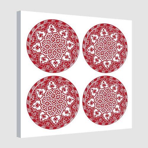 tableau-arabe-assiette-moderne-rouge