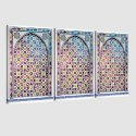 Tableau arabe porte mosaïque triptyque-fuchsia