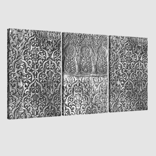 Tableau arabe arabesque triptyque-noir et blanc