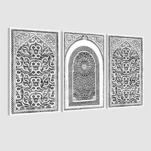 Tableau oriental arabesque triptyque-noir et blanc