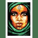 Poster oriental-femme-berbère-vert