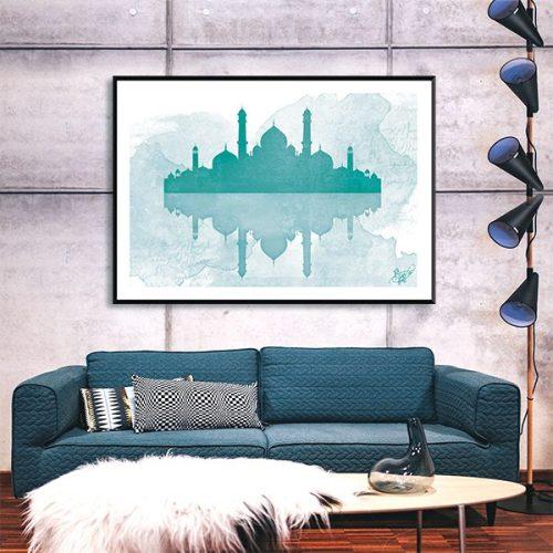 Poster oriental mosquee aquarel