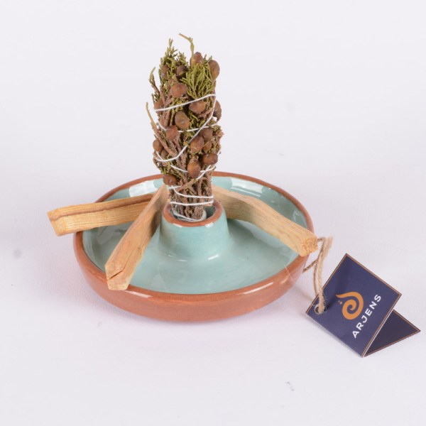 Turkuaz Kahverengi El Yapımı Seramik Ağaç Tütsülük