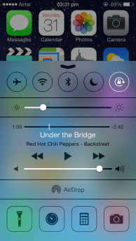 iOS 7 Control Centre, above Home Screen
