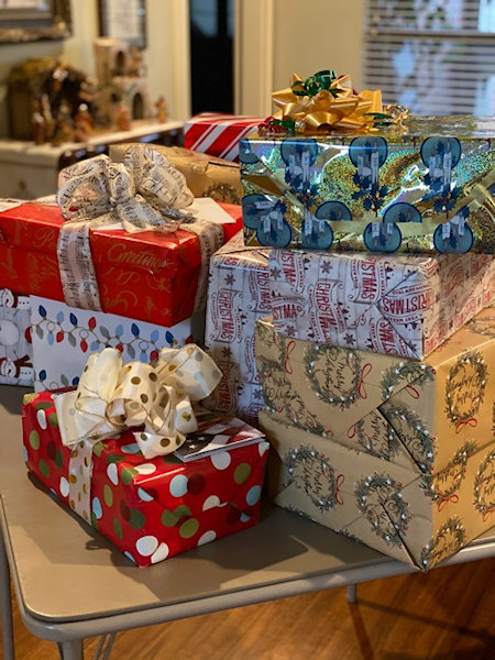 Shoe boxes wrapped for Veterans at Christmas