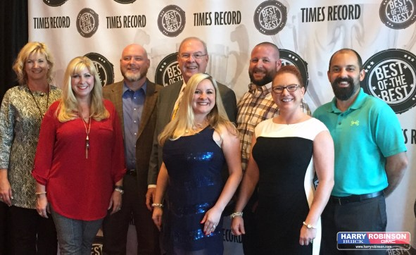 Representing HRBG at the Best of the Best gala is (back) Pam (sales consultant), Scott (general sales manager), Harry, Jeremy (service manager). Cory (body shop parts manager) (front): Renee (general manager), Candi (body shop estimator) & Me, Cathy (social media director).