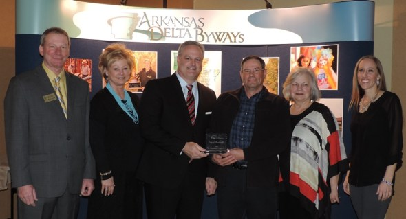 Marcel Hanzlik, tourism association president, with representatives of Historic Dyess Colony, which received the Cultural Heritage Award (from left): Paula Miles, Kirkley Thomas, Larry Sims,  Dr. Ruth A. Hawkins and Dr. Elista Istre