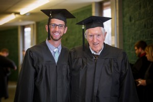 grandson-grandfather graduate same day arkansas tech atu Brant Bauman and Bobby Lancaster 12-20-2014