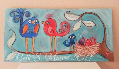 Bird Family on canvas web edit