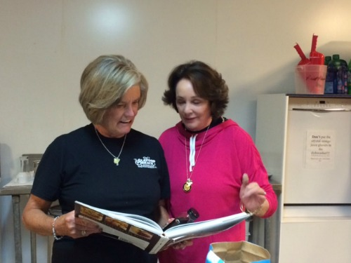 sister schubert and debbie arnold check out the recipe for rum glaze
