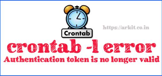 crontab command -l error