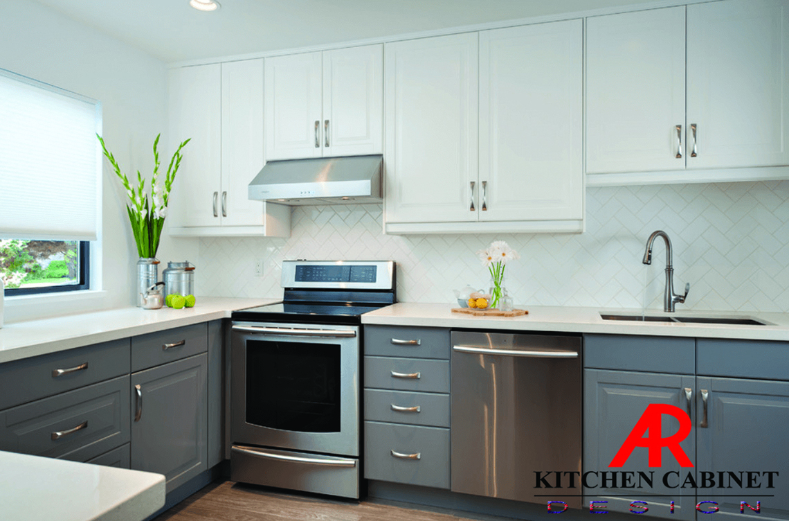 An AR Kitchen Cabinet Design modular kitchen. The stove, refrigerator, and sink are positioned near each other.