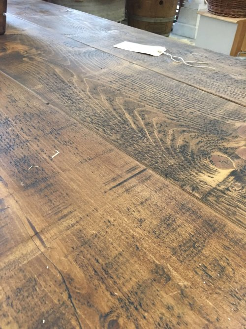 waxed pine top reclaimed table top