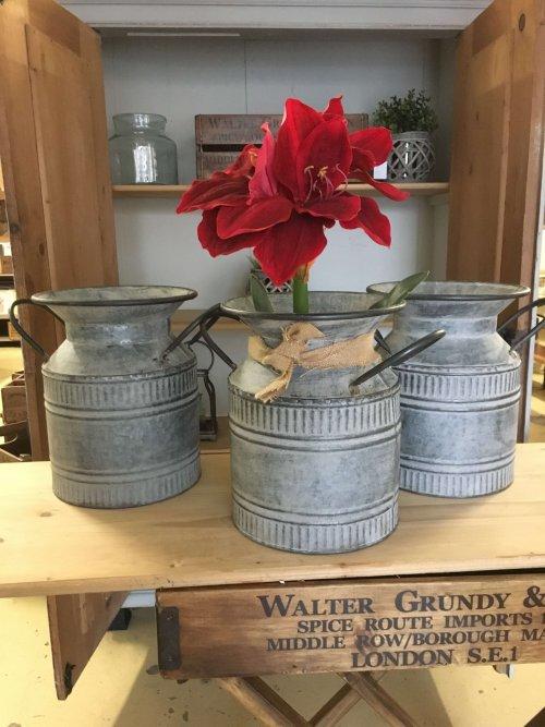 Vintage style galvanised churns