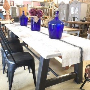 Industrial steel frame dining table metal base reclamation top